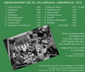 OREXIS History Vol. III Inlay